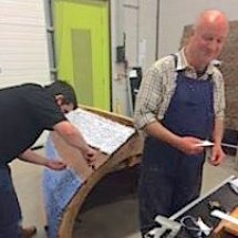 """Dave and James glueing on finished """"planks"""""""
