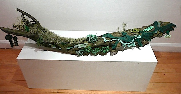 Embellished driftwood by Kate Wild