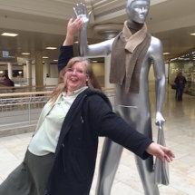Sue celebrating finishing the last figure