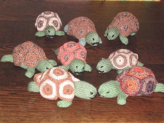 Knitted tortoises