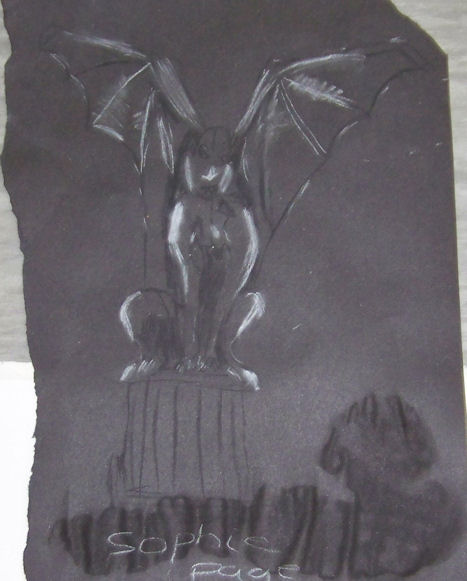 Gargoyle Drawing Charcoal and chalk