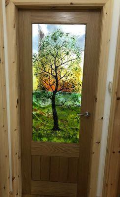 'Tree at Sunset' Door Panel