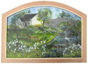Fused Glass Canal Scene Picture