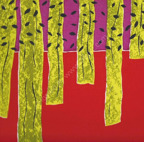 trees red purple screenprint