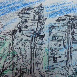 Yorke Folly - pen and pastel