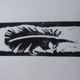 Feather - linocut