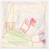 """House On Hill 2"" - Mastered the window frames and now experimenting with colour. (Age 3)"