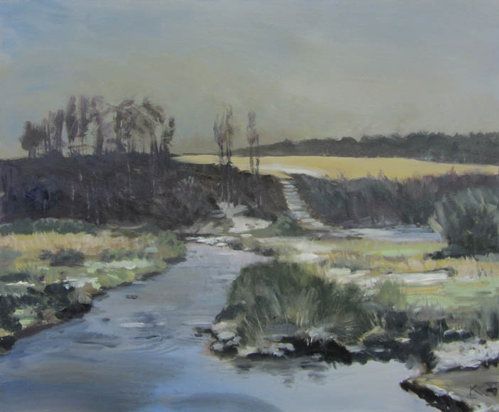 """Snow at Postbridge"" oil on canvas 60cmx73cm"