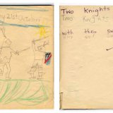 """Two Knights Fighting"" - Adding text to layout. (Age 5)"