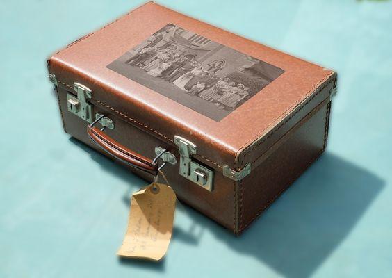 Suitcase with wedding photo