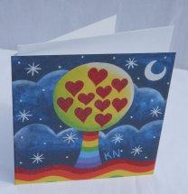loveheart rainbow tree card