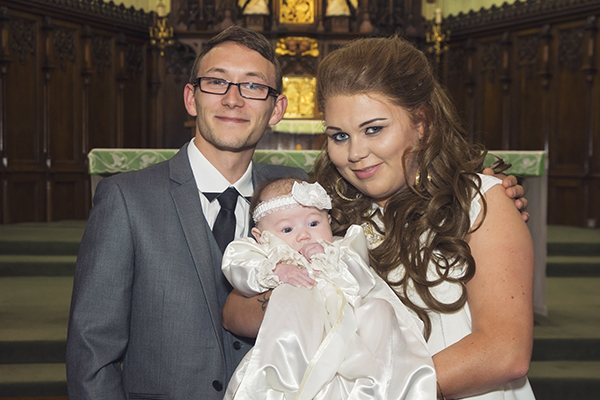 Mum & Dad at their daughter's Christening