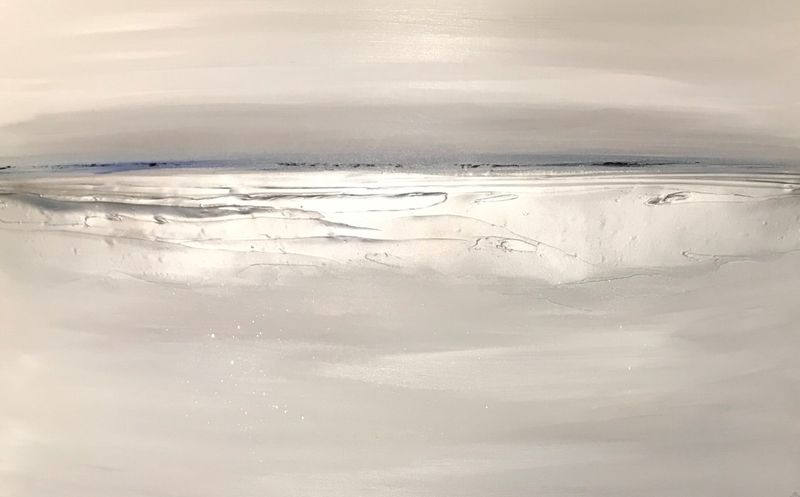 Navy and silver seascape wall art