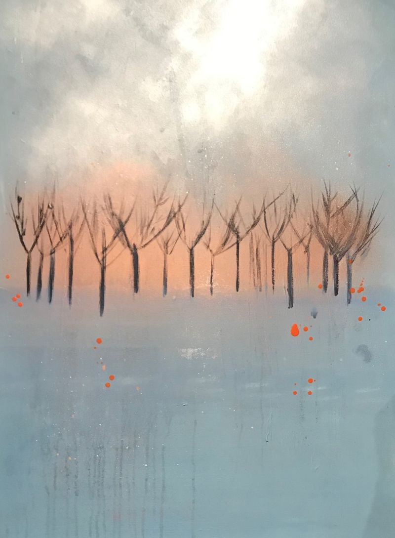 blue and copper trees canvas wall art