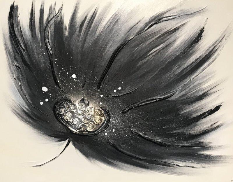 "'Breeze Floral - Black' 24""x18"" REDUCED £40"