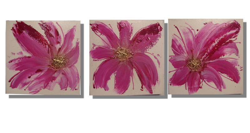 Set of 3: Pink and gold Floral