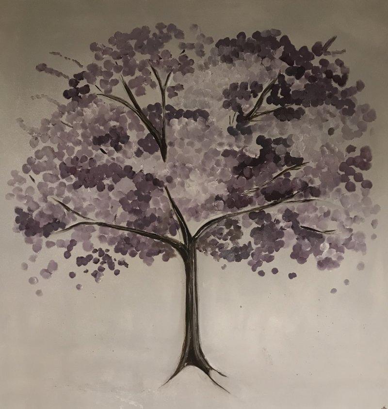 Purple Japanese Blossom Tree canvas