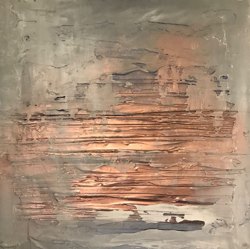 copper amd grey canvas art
