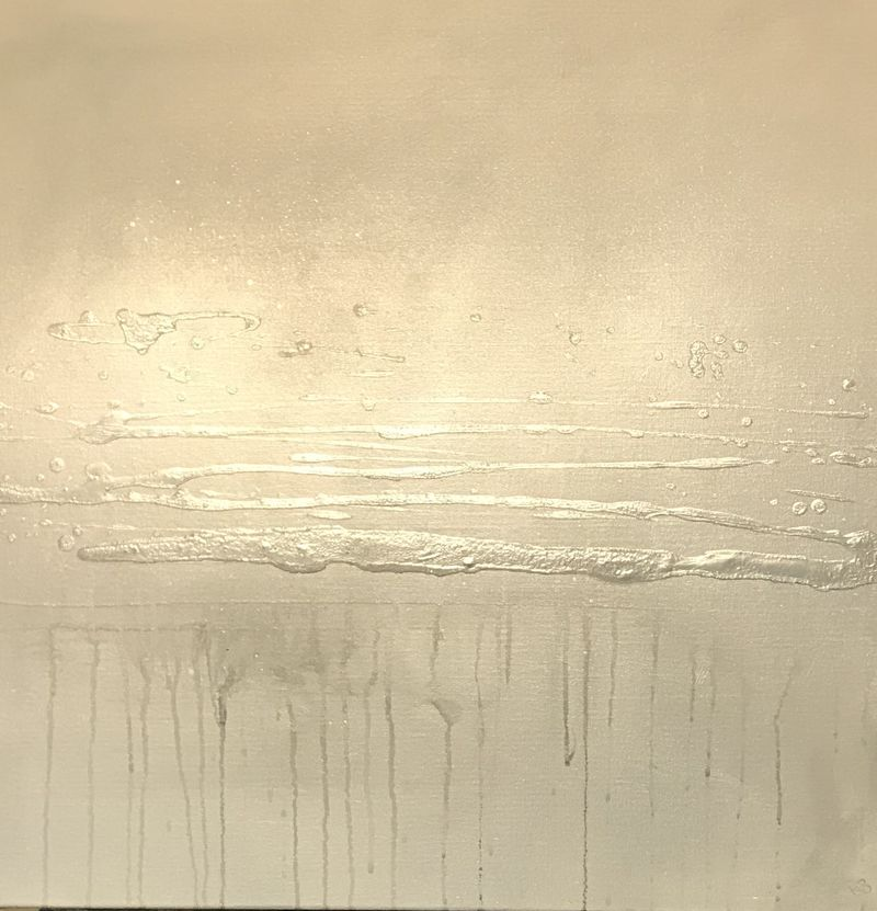 A Silver and grey canvas