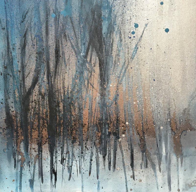 Copper & blue woodland art