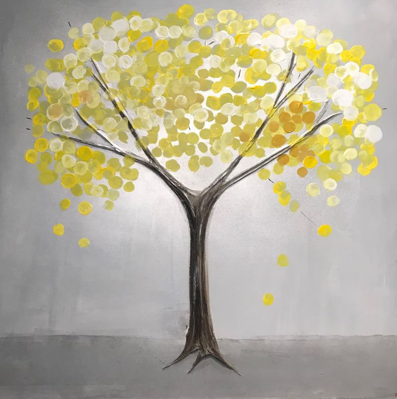 Yellow and grey canvas art