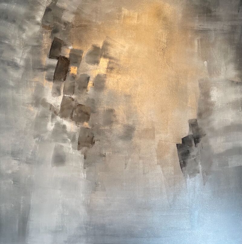 grey and gold canvas art