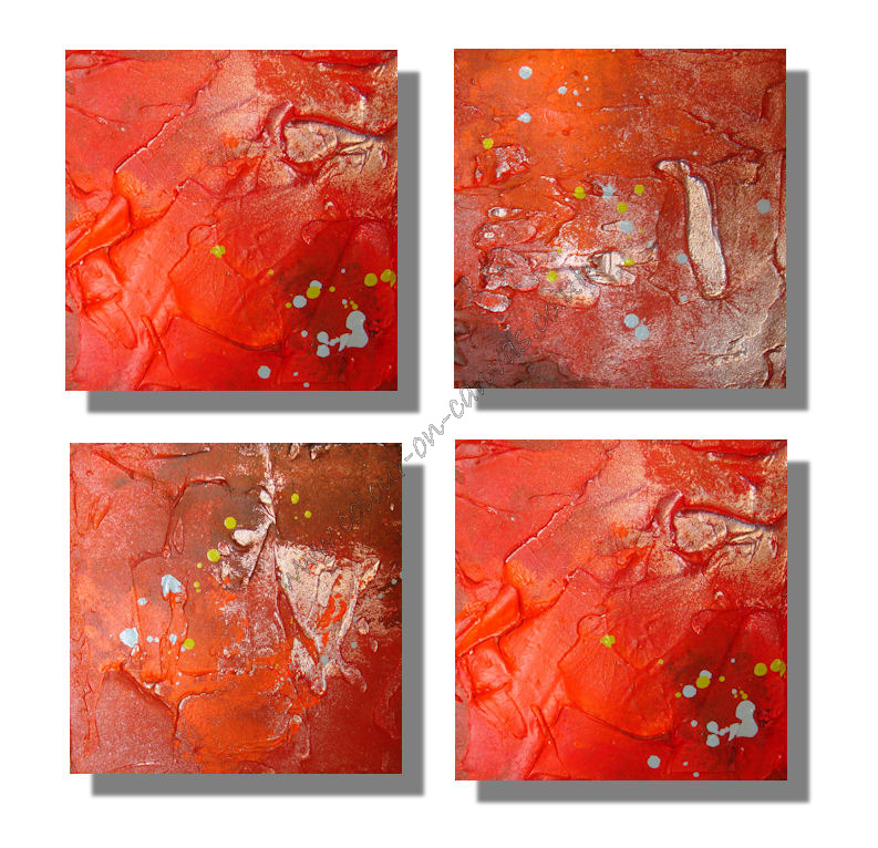 "Set of 4 'Vibrancy' (4 x 30x30x3.5cm (12""x12""x1.5"")"