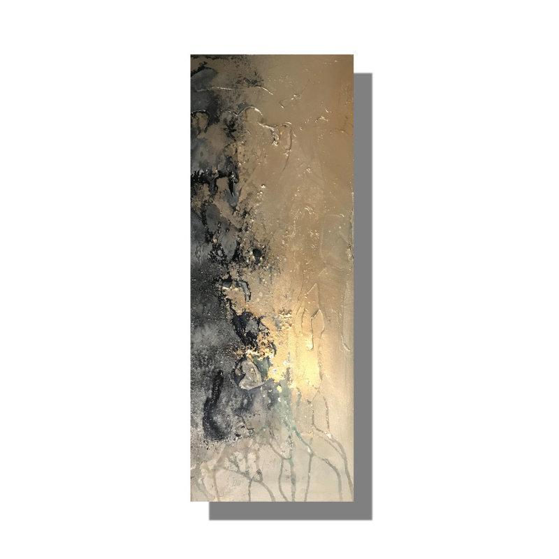 'Navy & Champagne Textured' 76x30cm £50