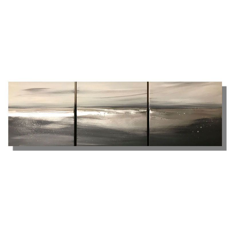 'Coastline' Set of 3 wall art canvases
