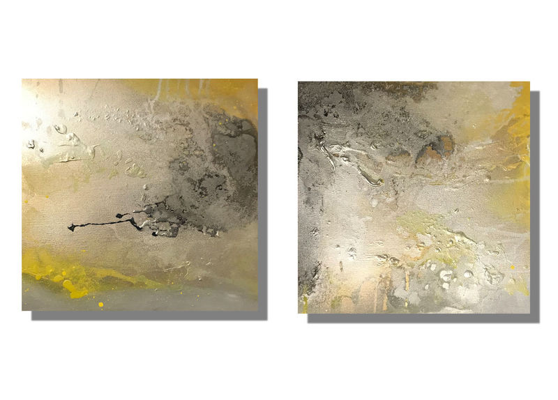 yellow silver and grey wall art canvases