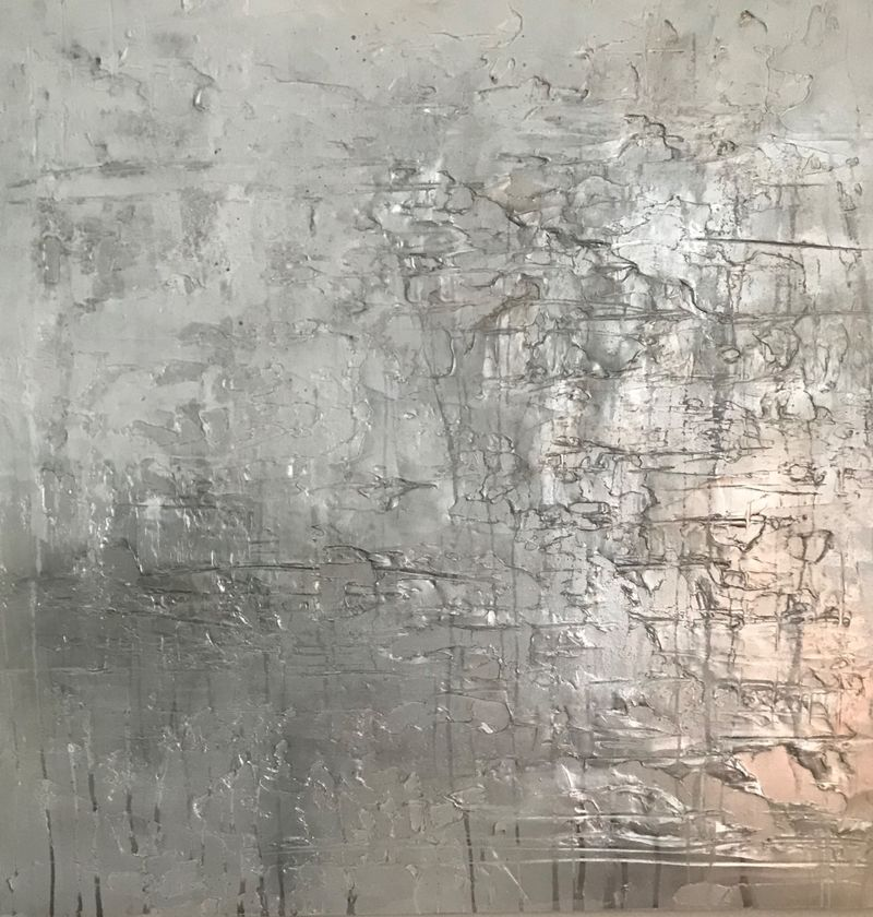 Silver and white abstract canvas wall art