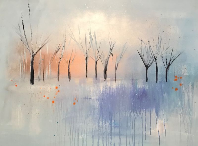blue and copper trees canvas