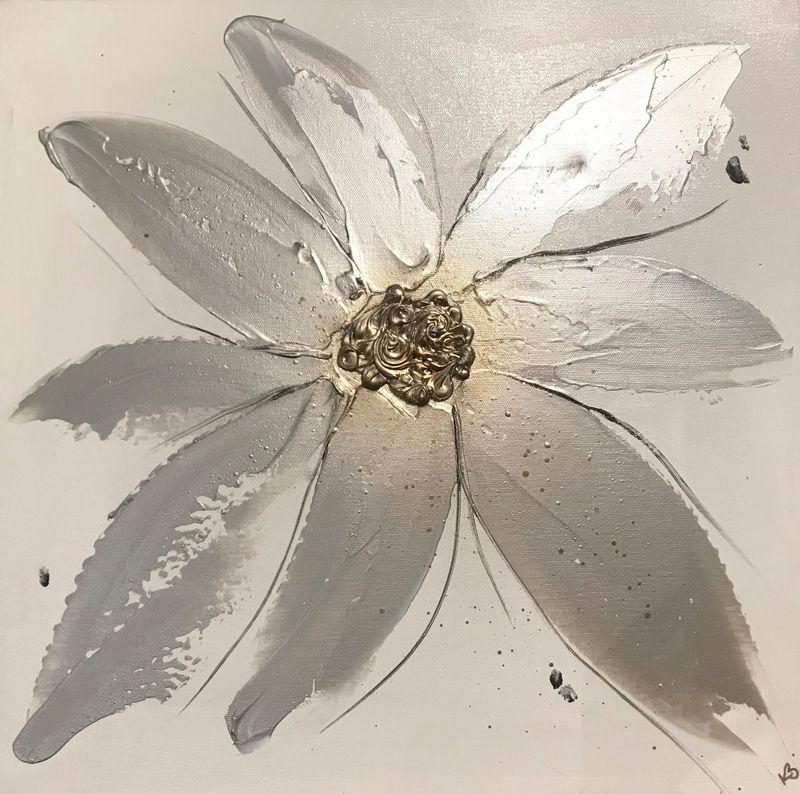 silver floral canvas