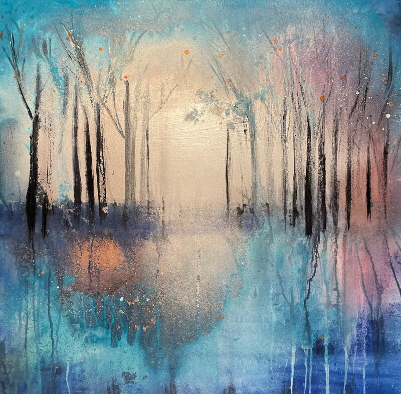 One-off original 'Vibrant Woodland' 76x76cm £175