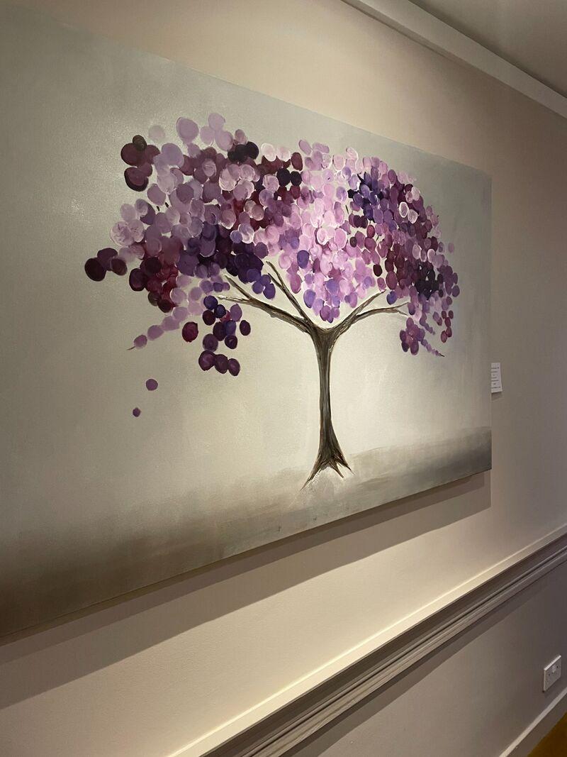 purple lilac blossom on wall
