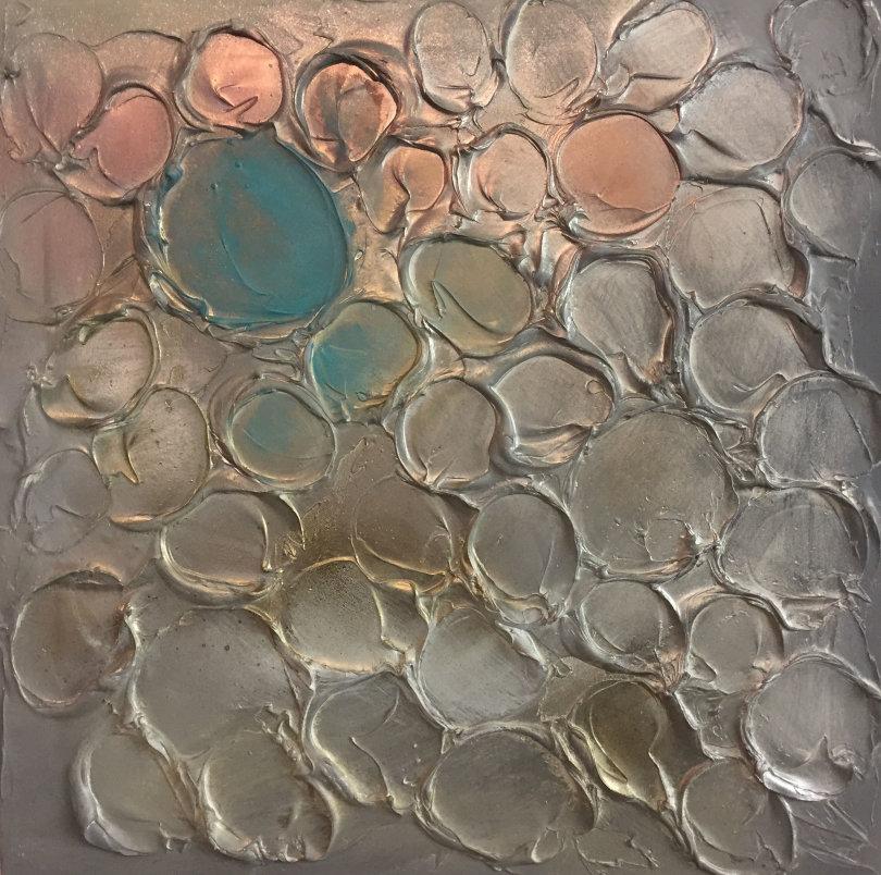 'Bubbles - Copper/blue/gold'