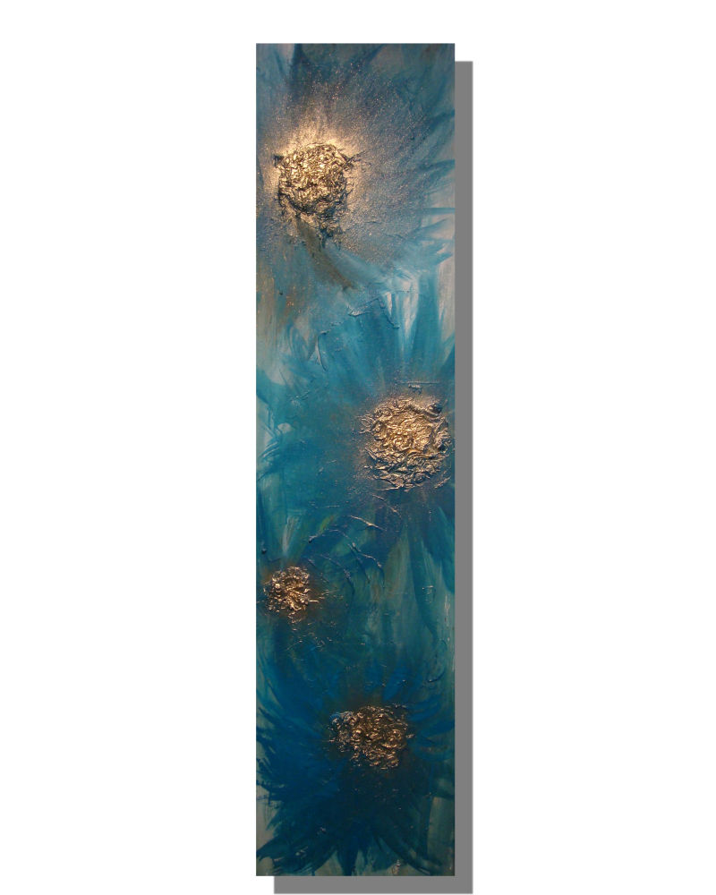 'Soft Teal Blooms' (Elongated)