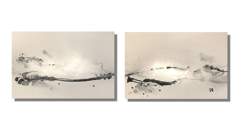 Silver and grey wall art canvases