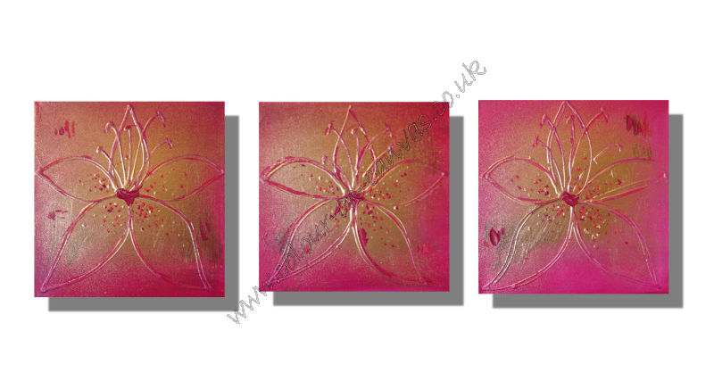 'Set of 3 Magenta & Gold Lilies