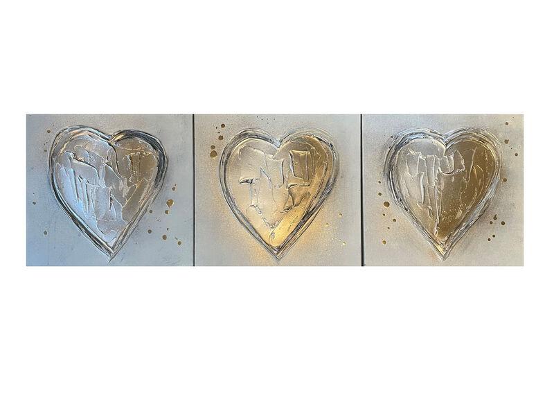 Set of 3 x 'Grey & Gold Hearts'
