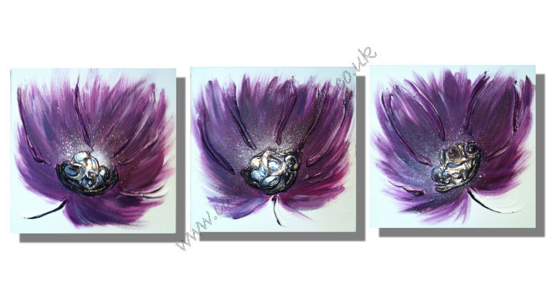 Plum/Purple Breeze flowers (Set of 3)