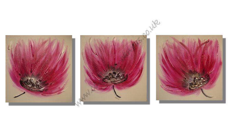 'Pink & Black Breeze flowers' Set of 3