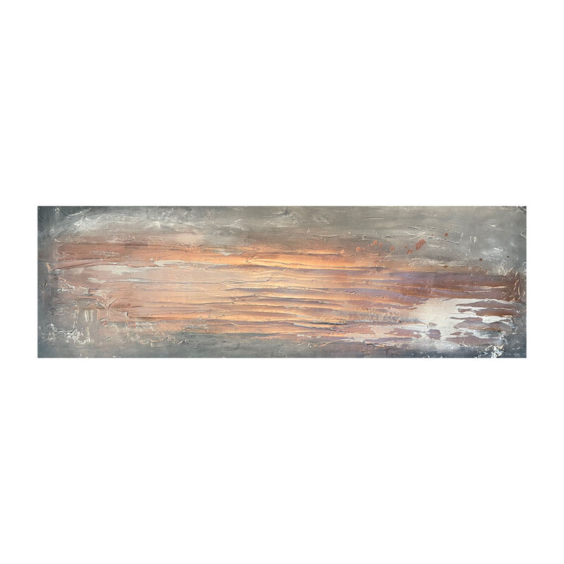 Copper and grey textured wall art