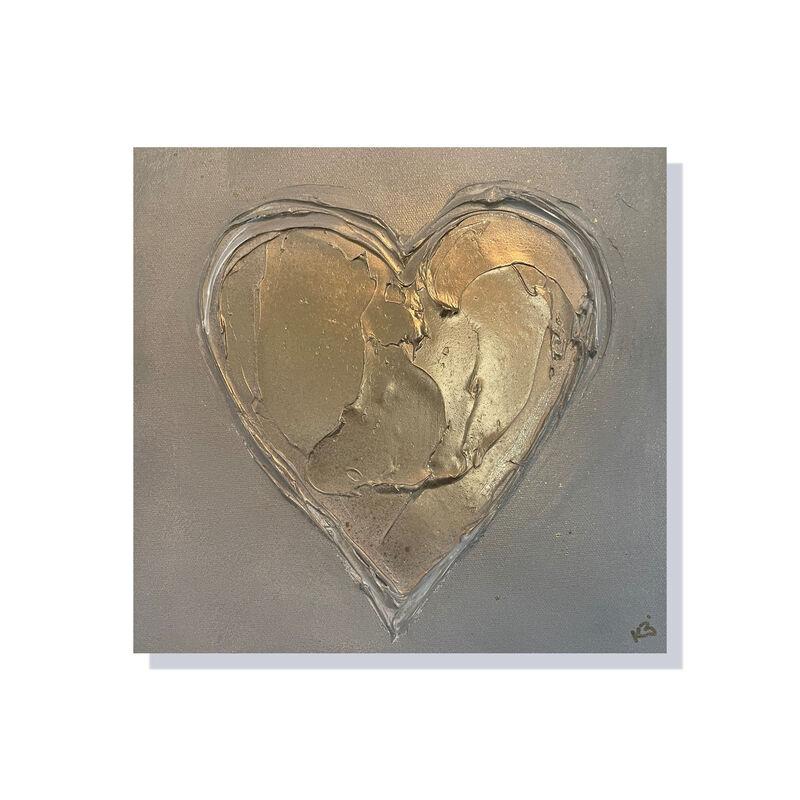 gold heart canvas