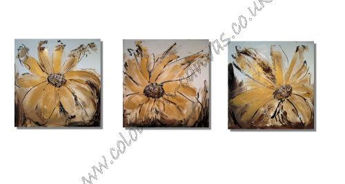 ' Set of 3 gold/brown floral'