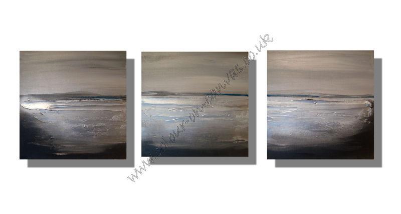 'Coastline - Greys' Set of 3