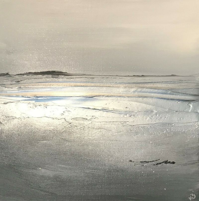 grey and silver seascape canvas
