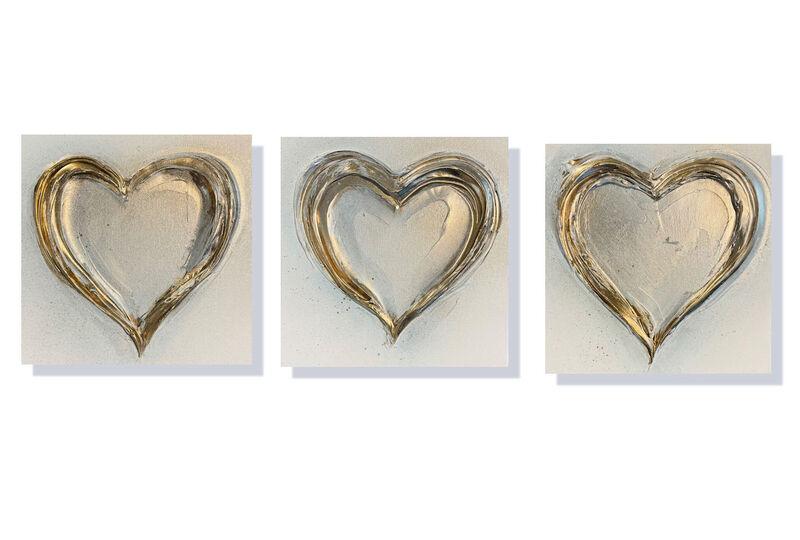 'Set of 3 x Gold Hearts' 3 x 30x30cm £135