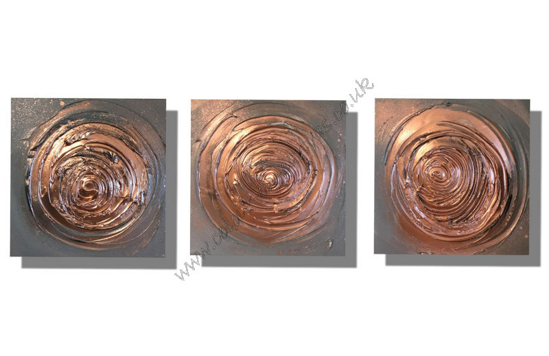 Set of 3 x 'Copper Swirls'