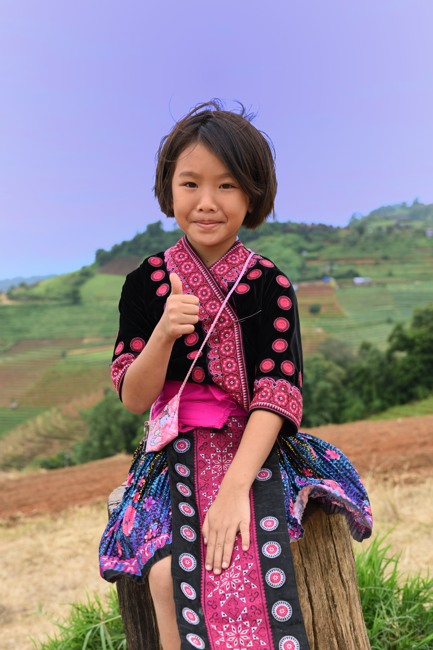 Hmong girl in traditional tribal dress